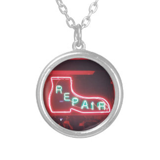 Repare Neon Sign NYC Silver Plated Necklace