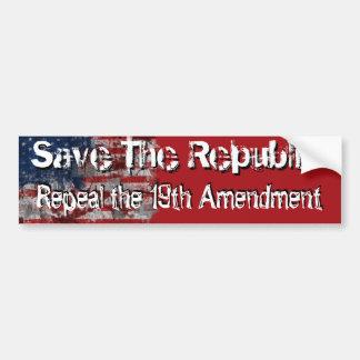 Repeal the 19th bumper sticker car bumper sticker