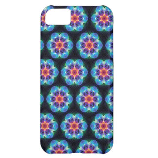 Repeating Blue flower kaleidoscope pattern Cover For iPhone 5C