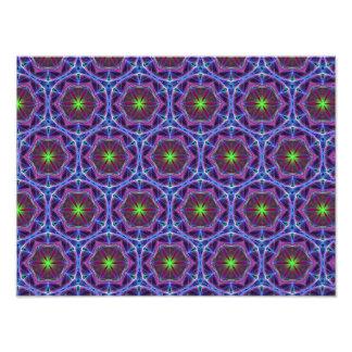 Repeating Blue flower kaleidoscope pattern Photo Print