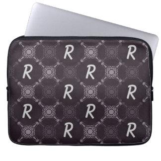Repeating Letter Black Pattern Monogram Laptop Sleeve