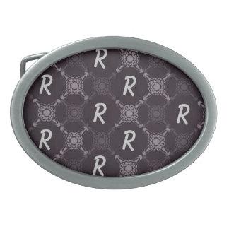 Repeating Letter Monogram Oval Belt Buckle