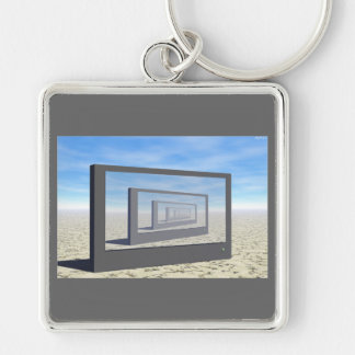 Repeating Monitor Silver-Colored Square Keychain