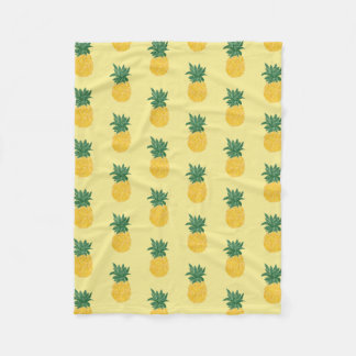 Repeating Tropical Pineapple Fleece Blanket