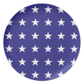 Repeating White Stars on Blue Background Pattern Dinner Plates