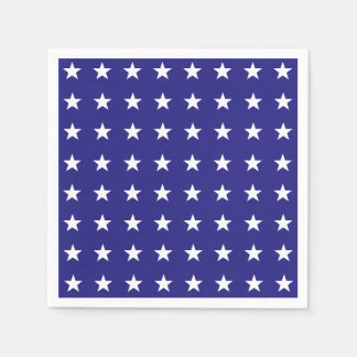 Repeating White Stars on Blue Background Pattern Disposable Napkins