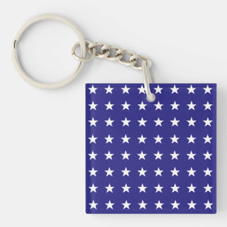 Repeating White Stars on Blue Background Pattern Keychain
