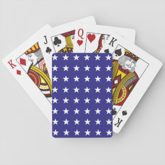 Repeating White Stars on Blue Background Pattern Playing Cards