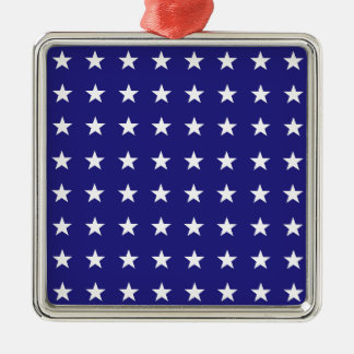Repeating White Stars on Blue Background Pattern Silver-Colored Square Ornament