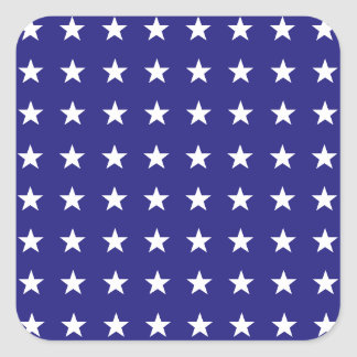 Repeating White Stars on Blue Background Pattern Square Sticker
