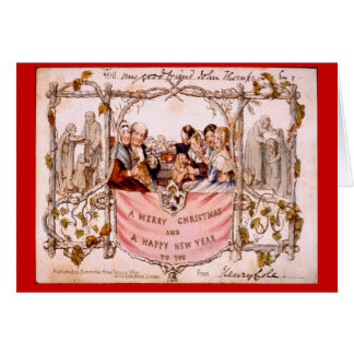Replica, Antique  First Christmas Card, 1843, Card