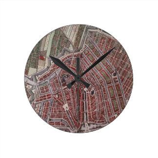 Replica city map of Amsterdam 1652 Wall Clock