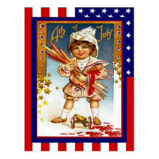 Replica Vintage 4th of July, Boy with toy cannon Postcard