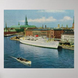 Replica Vintage  Denmark, Cruise ship, Copenhagen Poster