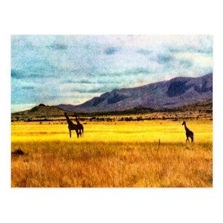 Replica  Vintage Giraffe on steppes of Tanganyika Postcard
