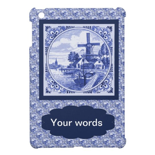Replica Vintage image, Blue Delft tile design iPad Mini Cover