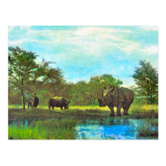 Replica  Vintage Rhinoceros, South African reserve Postcard