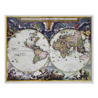 Replica Vintage World MAP Poster 16th Century