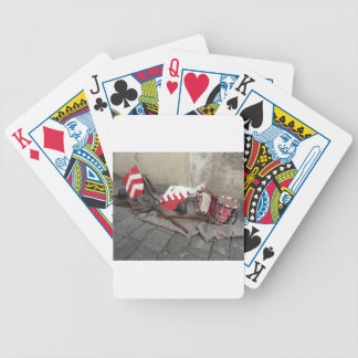 Replicas of medieval helmets, crossbows, shields bicycle playing cards