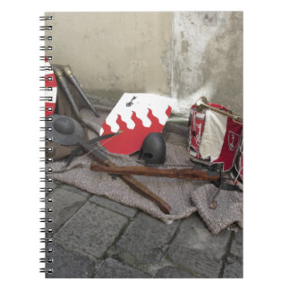 Replicas of medieval helmets, crossbows, shields notebook
