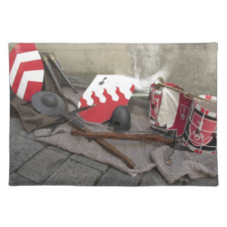 Replicas of medieval helmets, crossbows, shields placemat