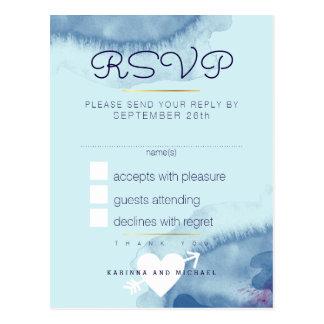 reply . blue watercolor wedding rsvp postcard