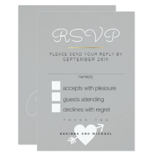 reply, respond rsvp . elegant gray wedding card