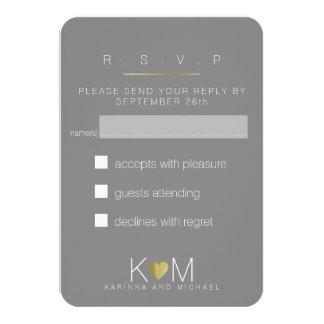 reply, respond rsvp elegant gray wedding party card