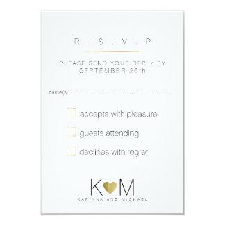 reply, respond rsvp elegant, white & clear wedding card