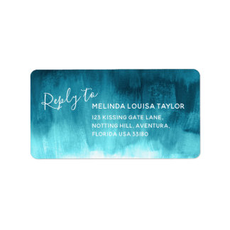 Reply teal abstract art wedding address labels