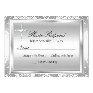 Réponse argentée de damassé et de baptême RSVP de Carton D'invitation 11,43 Cm X 15,87 Cm