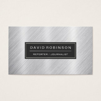 Reporter Journalist - Modern Brushed Metal Look Business Card