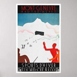 Reprint of a Vintage Mont Geneva Travel Poster