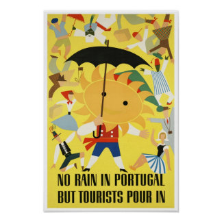 Reprint of a Vintage Travel Poster to Portugal