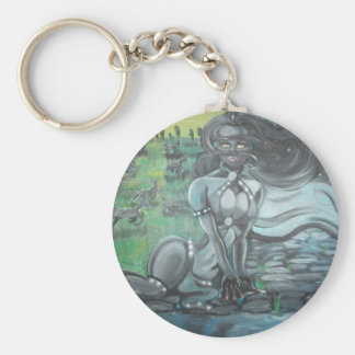 Reprinted painting by David Berbia Basic Round Button Keychain