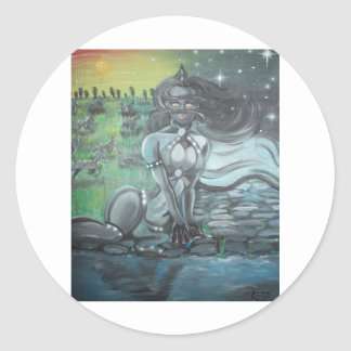Reprinted painting by David Berbia Round Sticker