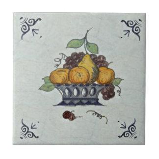 Repro Antique Delft Fruit Basket Ceramic Tile