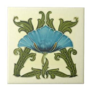Repro Minton Art Nouveau Ceramic Blue Floral Tile