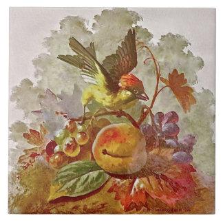 Repro Victorian Handpainted Bird & Fruit Tile #1