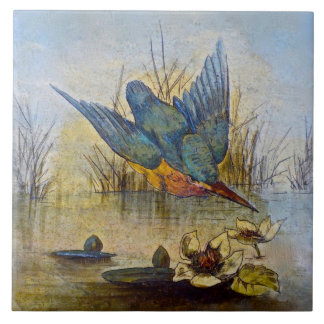 Repro Victorian Handpainted Bird Tile Design