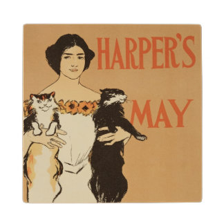 Reproduction of a poster advertising the May Issue Maple Wood Coaster