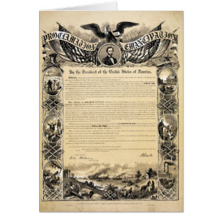 Reproduction of the Emancipation Proclamation Card
