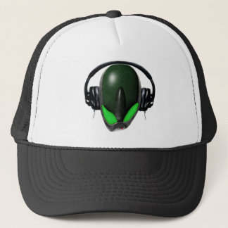 Reptile Alien {Angry} Pissed Off DJ in Headphones Trucker Hat
