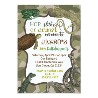 Reptile Animal Vintage Birthday Invitation