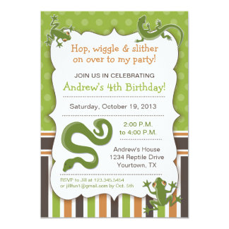 "Reptile Party Theme Birthday 5"" X 7"" Invitation Card"