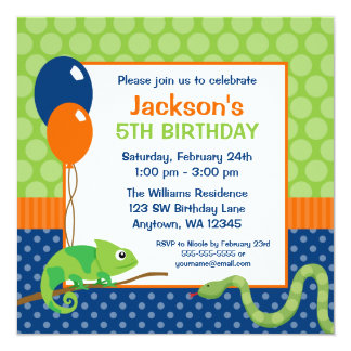 Reptile Polka Dot Kids Birthday Card