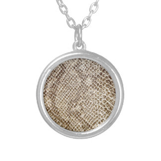 Reptile skin pattern silver plated necklace