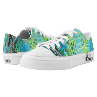 Reptile Skin Snake Blue pattern Zipz Low Top Shoes