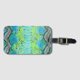 Reptile Skin Snake Luggage Tag w/ leather strap