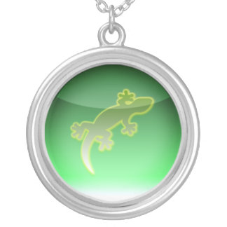 reptile symbol silver plated necklace